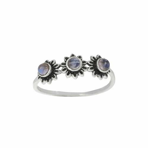 Sterling Silver Moonstone 3 Daisies Ring - RTM4409