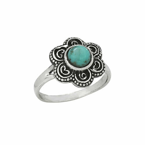 Sterling Silver Turquoise Flower Ring - RTM3522