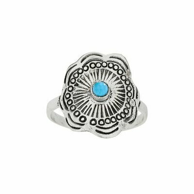 Sterling Silver Turquoise Hill Tribe Ring- RTM4306