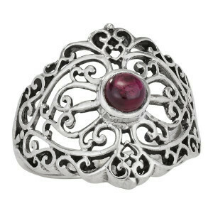 Sterling Silver Filigree Garnet Ring -RTM3940