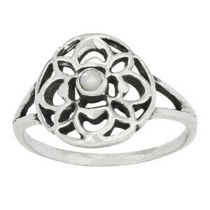 Sterling Silver Pearl Flower Ring -RTM3913