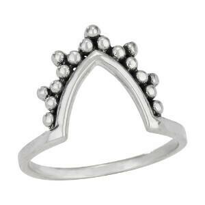 Sterling Silver V Chevron Dots Ring - RTM3986