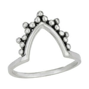 Sterling Silver V Chevron Dots Ring - RTM3986