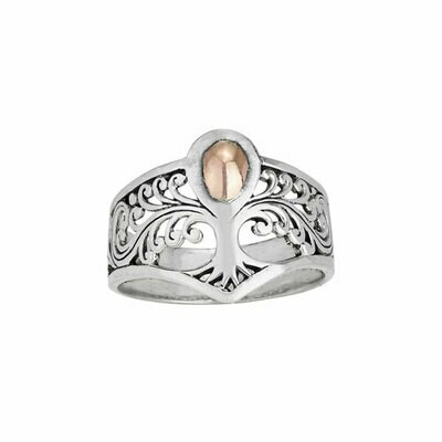 Sterling Silver & Gold Tree Ring - RTM4072