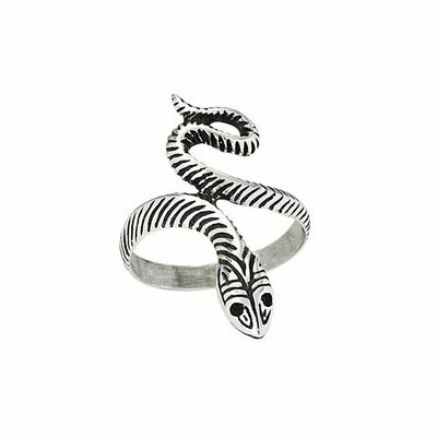 Sterling Silver Striped Snake Ring - RTM2708