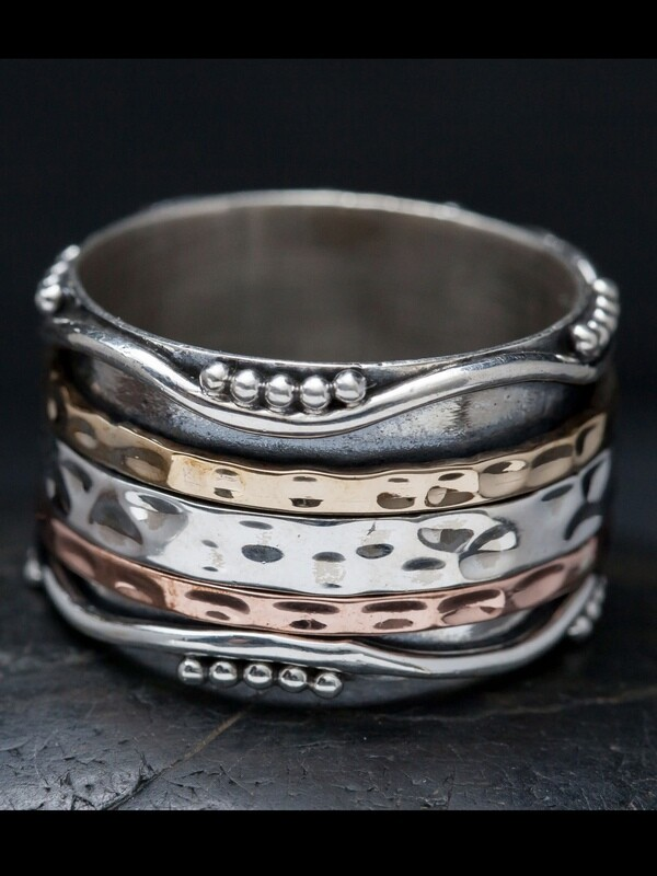 Mixed Metal Ripple Pattern Spinner Ring - RB14