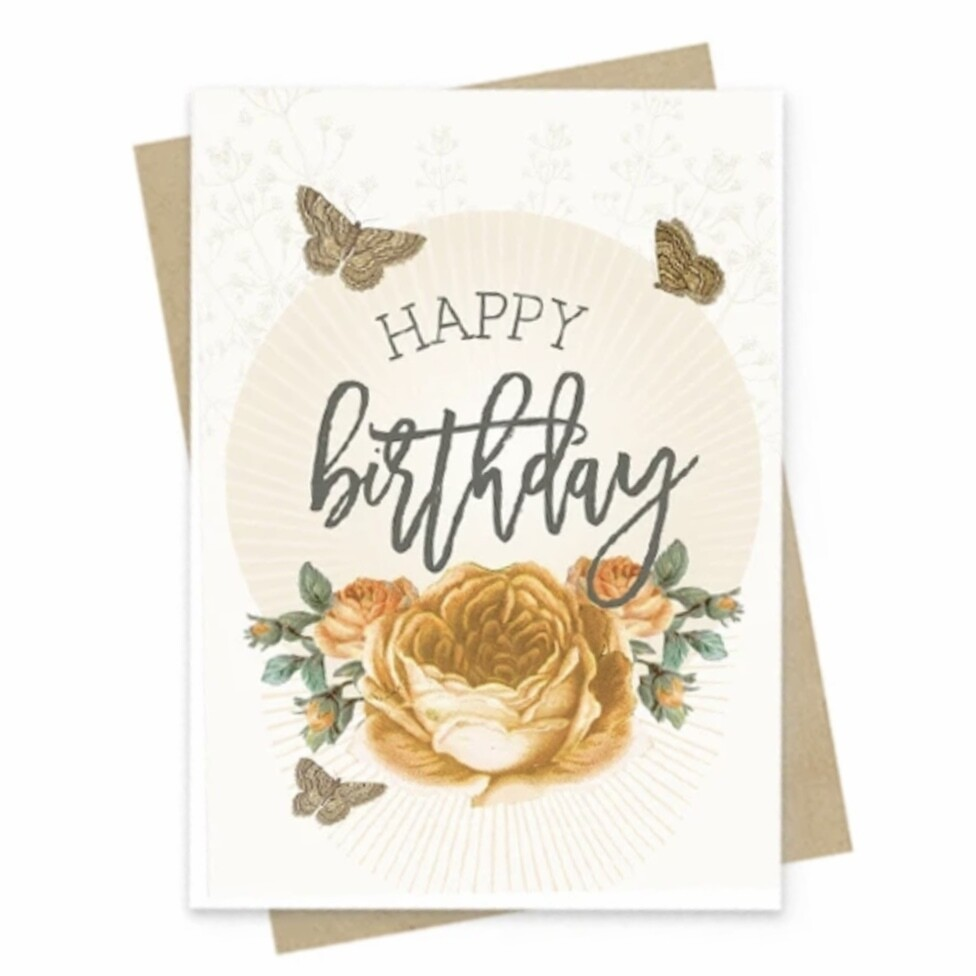 Yellow Birthday Roses Small Greeting Card - PAC141