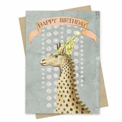 Birthday Giraffe Small Greeting Card - PAC93
