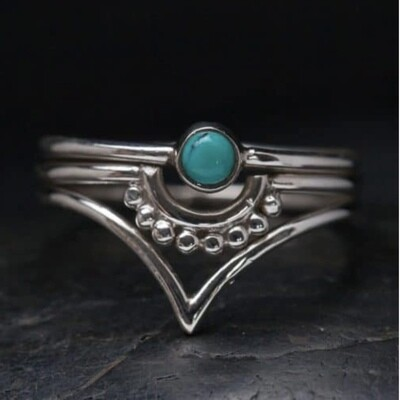 Sterling Silver Dot Chevron Turquoise Ring - RB18