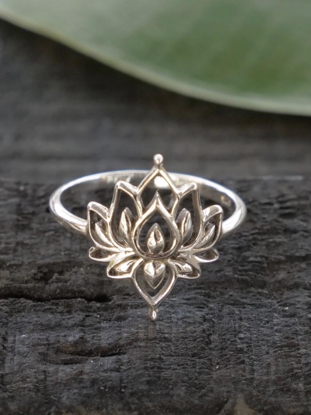Sterling Silver Lotus Flower Ring - RB11