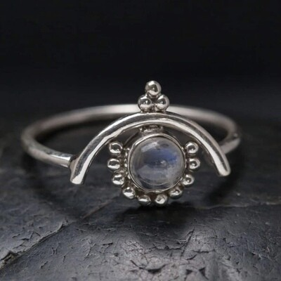 Sterling Silver Rainbow Moonstone Arch Ring - RB32