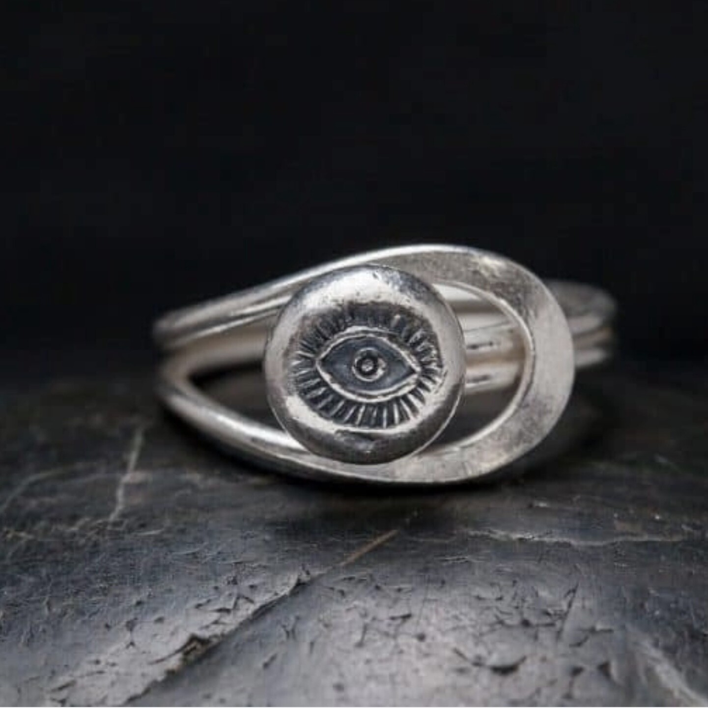 Sterling Silver Stamped Eye Ring - RB30
