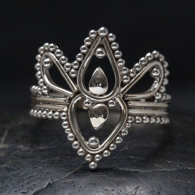 Sterling Silver Dotted Lotus Ring - RB12