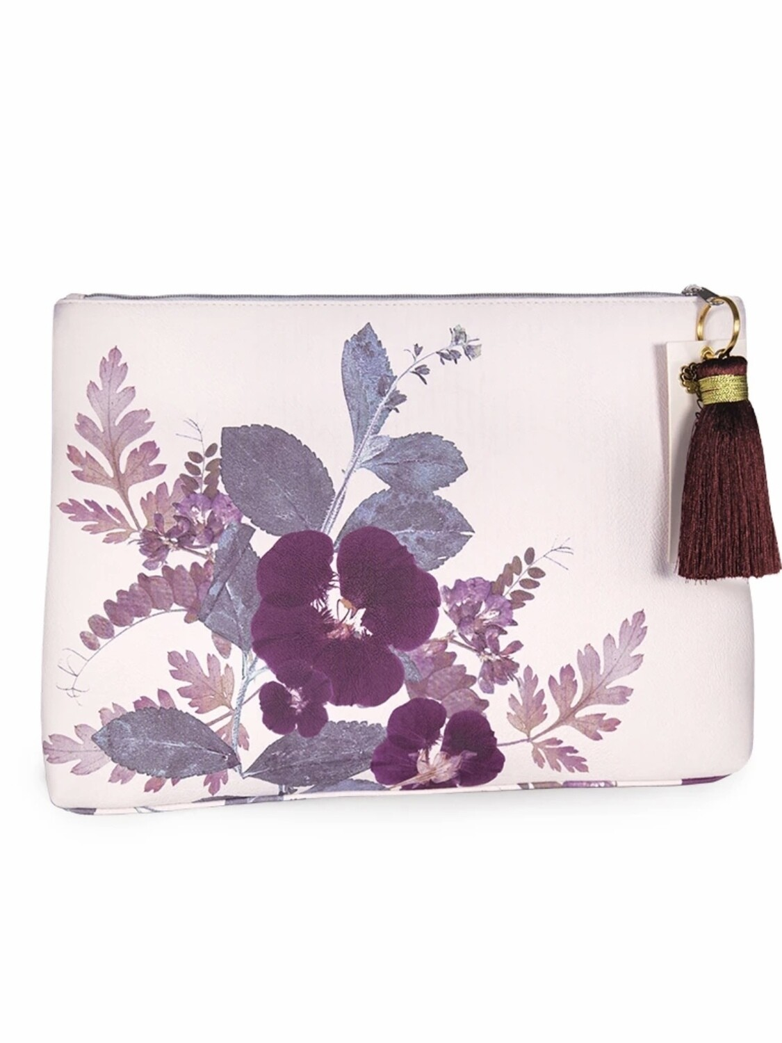 Plum Leaves Large Pouch - PAB19