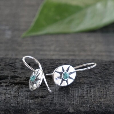 Sterling Silver & Turquoise Oval Sunburst Earrings - EB12