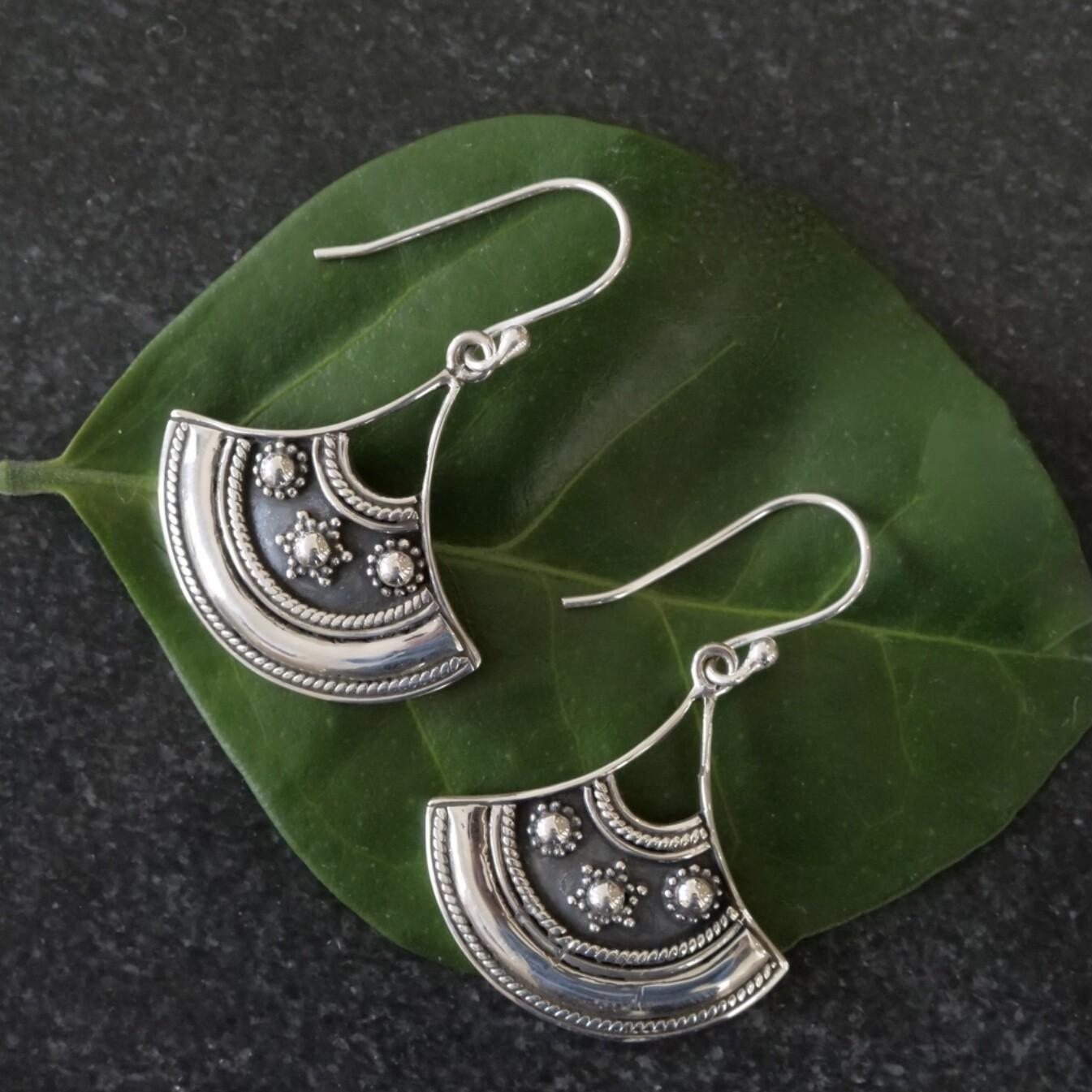 Sterling Silver Fan Earrings - EB10