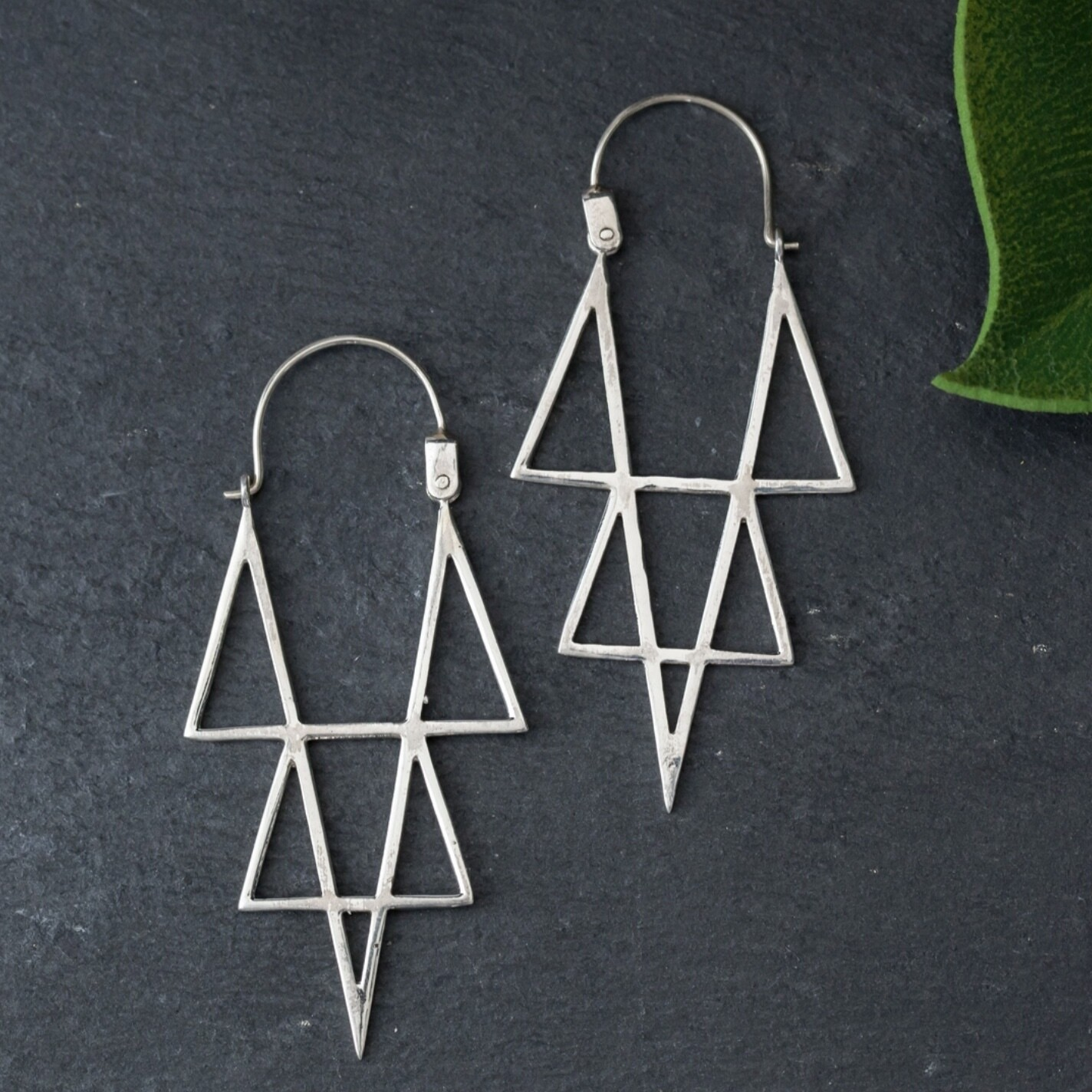 Sterling Silver Open Triangles Hoops - EB8
