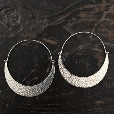 Hill Tribe Silver Hammered Crescent Hoop Earrings - HTE5