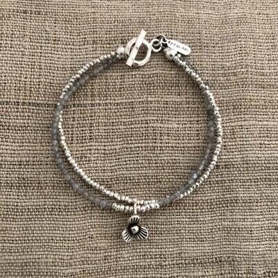 Hill Tribe Silver & Labradorite Flower Child Bracelet - HTB24