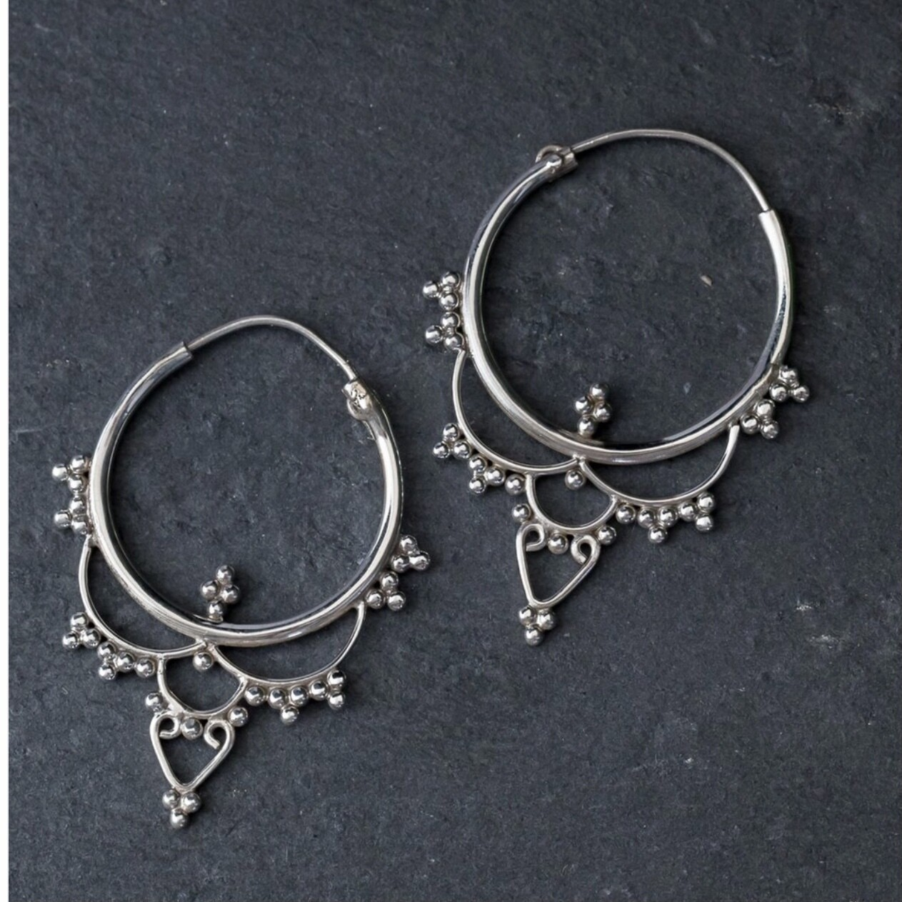 Sterling Silver Filigree & Dot Hoops - EB4