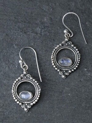 Sterling Silver & Rainbow Moonstone Dotted Circle Earrings - EB11