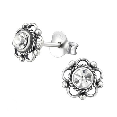 P35-31 Sterling Silver Oxidized Floral CZ Posts
