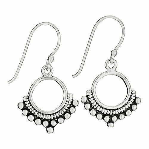 Sterling Silver Bali Dot Dangle Earrings - ETM4610