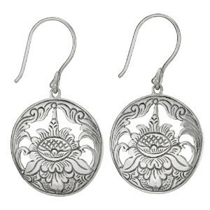 Sterling Silver Etched Lotus Domed Circle Earrings - ETM4191
