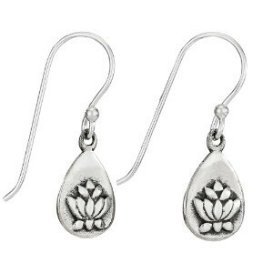Sterling Silver Lotus Teardrop Dangle Earrings - ETM4277