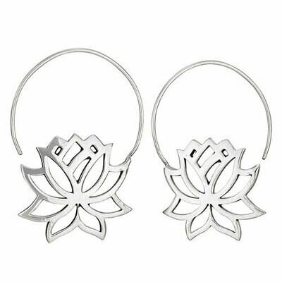 Sterling Silver Lotus Hoop Earrings - ETM4524