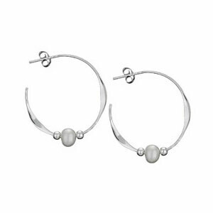 Sterling Silver Pearl Hoop Earrings - H13 9032