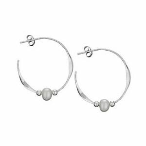 Sterling Silver Pearl Hoop Earrings - H13 9032