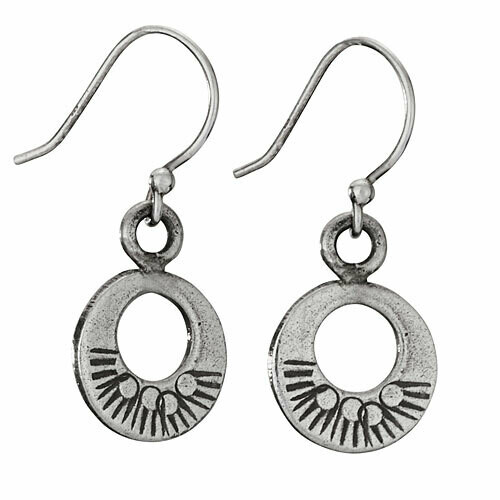 Hill Tribe Silver Cut Out Circle Earrings - ETM4703