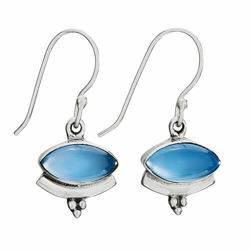 Sterling Silver Blue Chalcedony Dangle Earrings - ETM4788