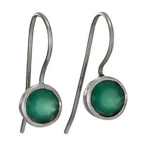 Sterling Silver Green Quartz Faceted Earrings - ETM4342