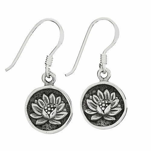 Sterling Silver Lotus Flower Earrings - ETM4730