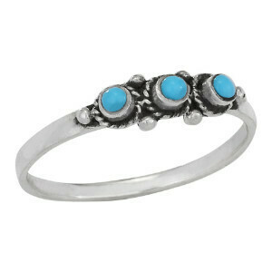 Sterling Silver Trio of Turquoise Ring - RTM3895