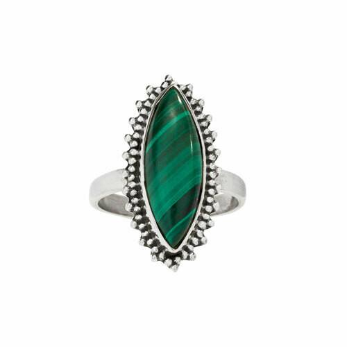 Sterling Silver Malachite Marquis Ring - RTM4415