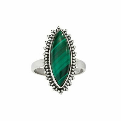 Sterling Silver Malachite Marquis Ring - RTM4415