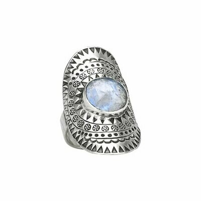 Hill Tribe Silver Moonstone Shield Ring - RTM3533