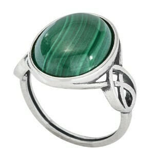Sterling Silver Malachite Knot Work Ring - RTM4006