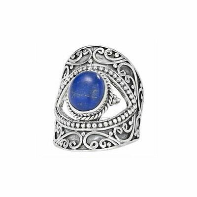 Sterling Silver Lapis Split Band Ring - RTM3223