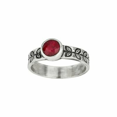 Sterling Silver Round Ruby Leaf Band - RTM4202