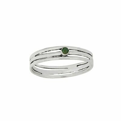 Sterling Silver Triple Band Emerald Ring - RTM4305
