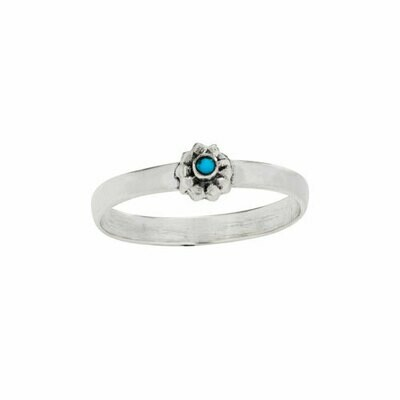 Sterling Silver Turquoise Flower Ring - RTM4300