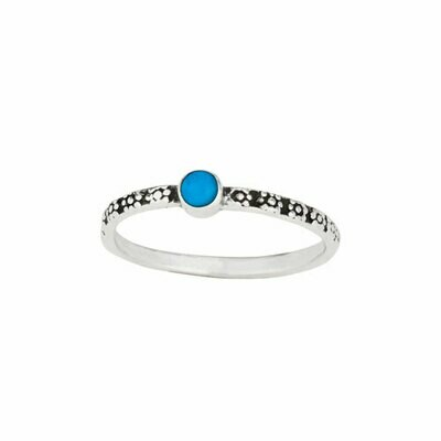 Sterling Silver Daisy Band With Turquoise- RTM4200