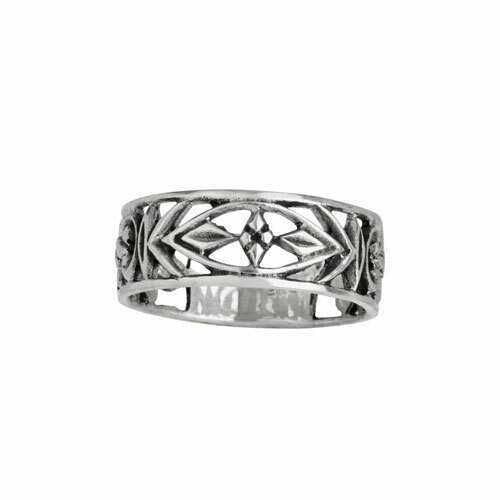 Sterling Silver Deco Style Cut-Out Band - RTM4136