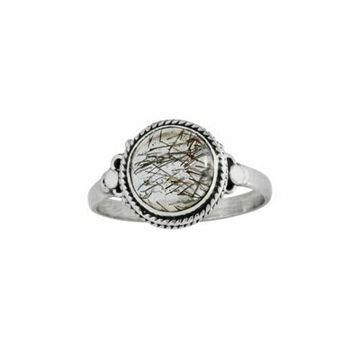 Sterling Silver & Tourmalated Quartz Ring- RTM4249