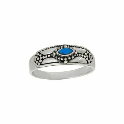 Sterling Silver Turquoise Dotted Band - RTM4394