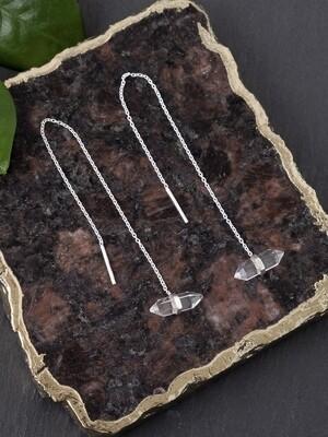 Sterling Silver Quartz Point Threader Earrings - EB2
